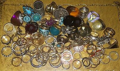 100 Costume Jewellery Rings Mixed Job Lot Modern & Vintage Various Styles & Size