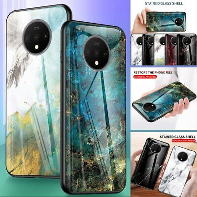 For OnePlus 7T, Luxury Hybrid Marble Back Tempered Glass Soft Bumper Case Cover
