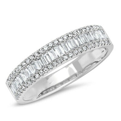 14K White Gold Baguette Cut Diamond Wedding Band Ring Channel Set Natural Womens