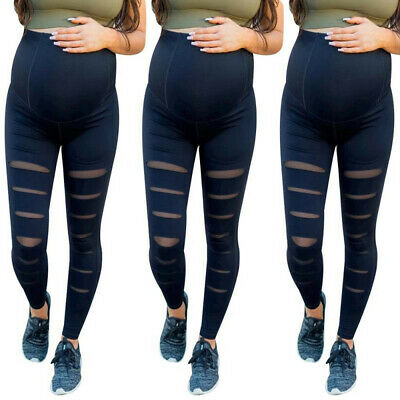 Fashion Women Pregnancy Maternity Solid Hole Trousers Belly Prop Leggings Pants