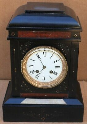 Old Slate Mantel Mougin Mantel Clock With Red Marble Decoration & Inscription