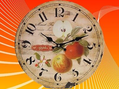 Wall Clock Kitchen Clock Apples 34 cm Trend Decoration Vintage Gift Christmas