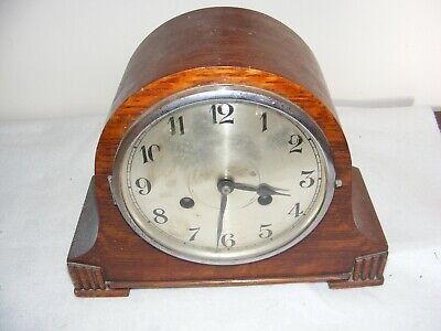 1930's ART DECO MANTLE CLOCK DOMED OAK CASE BRASS MOVEMENT SPARES CHIMES