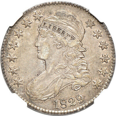 1829 Small Letters Capped Bust Half Dollar AU 53 CAC, NGC 50c C00043569