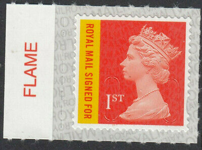 GB 2019 RECORDED 1st SIGNED FOR S/A CODE M19L SBP2i FLAME on SELVEDGE MNH