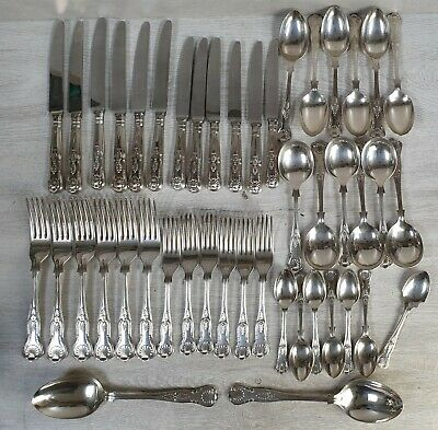 Cooper Bros Sheffield Kings Design Pattern Cutlery Silver Plated 45 Pieces