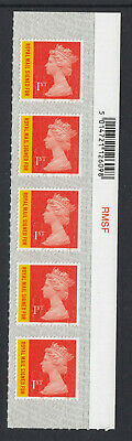 GB 2019 RECORDED 1st SIGNED FOR STRIP CODE M19L SBP2i BARCODE on SELVEDGE MNH