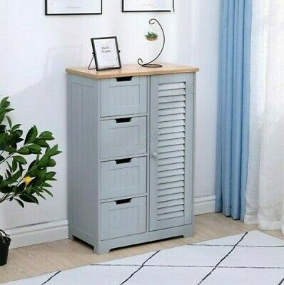 Tall Hallway Storage Cabinet Bedroom Chest of Drawer Grey Free Standing Bathroom