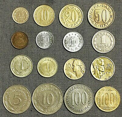 YUGOSLAVIA :- 16 different mid - late 20th century circulation coins. AP7765