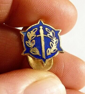 Ancienne Insigne En Metal Dore Emaille Lauriers Epee