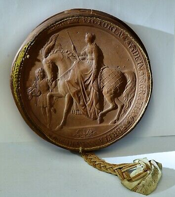 Antique Victorian THE GREAT SEAL OF THE REALM Large Wax Seal in Leather