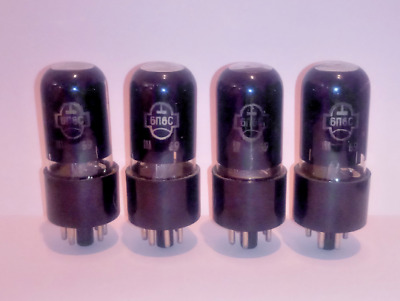 Matched quad x 6P6S Reflector 6V6 / 6AY5 / 587 Soviet Tubes NOS Same date