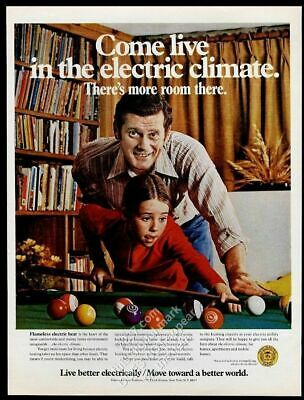 1971 father daughter playing pool photo Edison Electric vintage print ad