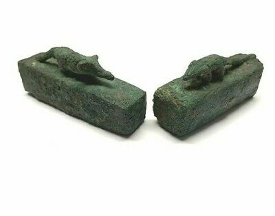 Pair of 2 Ancient Egyptian Bronze Sarcophagus (kind of mouse)