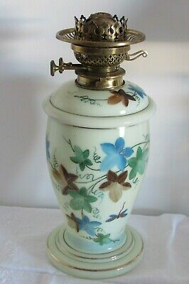 Antique Opaline glass hand painted drop in well Youngs patent victorian oil lamp