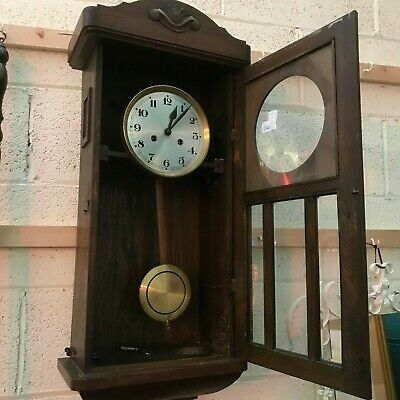 vintage striking wall clock with pendulum & key 79cm x 35cm