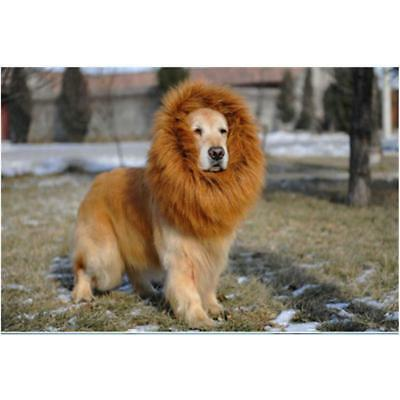 Pet Dog Costume Lion Mane Wig Hair For Halloween Clothes Fancy Dress Up LD