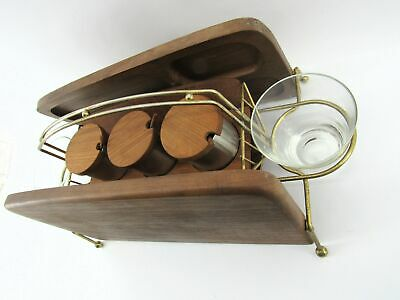 Original Mid-Century Modern Folding Teak Condiment Caddy