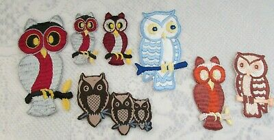 Lot of 7 Vintage Owls Patches /Appliques Embroidered Made in the USA