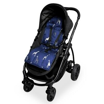 Outlook Get Foiled Universal Cotton Pram Liner - Navy with Silver Giraffes
