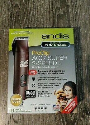 Andis proclip AGC 2-speed + Super Duty Detachable Blade Clipper For Dogs.