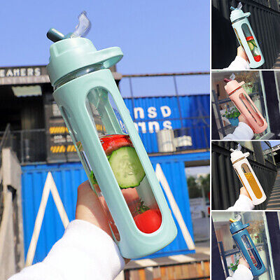 600 ml Water Bottle With Straw Glass Handle Large Capacity Liquid Container