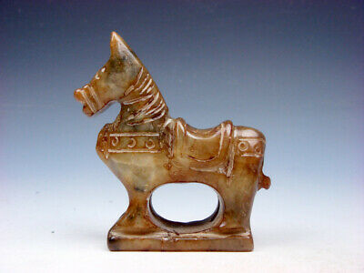 Old Nephrite Jade Stone Carved Sculpture Standing War Horse #07231911