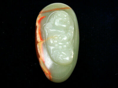 HeTian Jade Hand Carved Extra LARGE Pendant Sculpture Laughing Buddha #12271822
