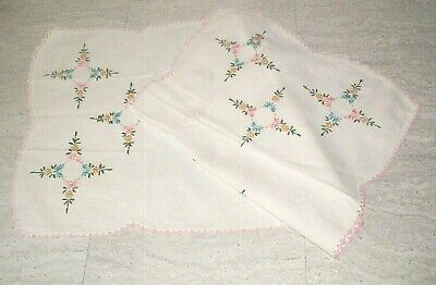 """Vintage Embroidered Crocheted Dresser Scarf Table Runner 36"""" Pink Flowers Doily"""