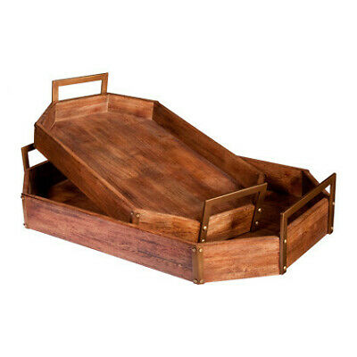 NEW Set of 2 Luxe Timber & Metal Serving Trays