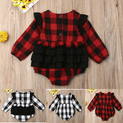 Newborn Toddler Baby Girl Plaid Clothes Christmas Romper Jumpsuit Xmas Outfits