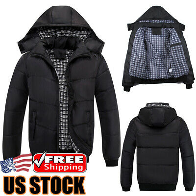 Mens Puffer Bubble Down Coat Quilted Padded Winter Warm Jacket Hooded Outwear US