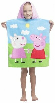 Peppa Pig Kids Children Beach Holiday Swimming Hooded Poncho Towel 100% Cotton