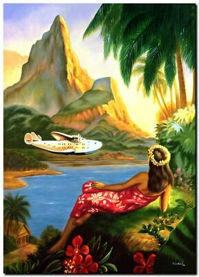 "Cool Retro Travel Poster CANVAS ART PRINT ~ Hawaii Beautiful View 16""x12"""