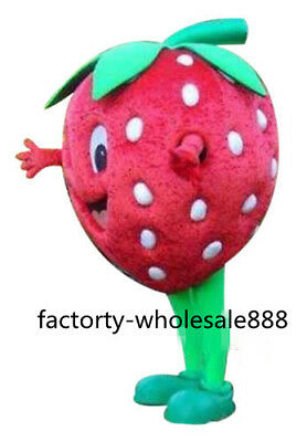 Cute Adults Advertising Strawberry Mascot Costume Fruit Suits Party Dress Newly@