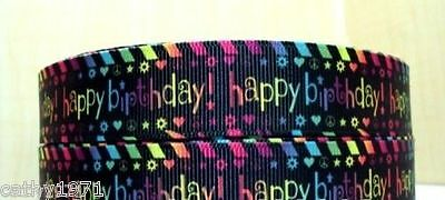 U Choose NEW Happy Birthday Grossgrain Ribbon 22mm 1M,2M,3M,4M or 5M