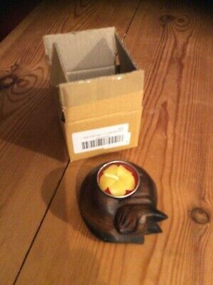 Small Wooden Curled Up Cat Tea Light Holder  New In Box