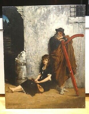 19th Century French Harpist Mandolin Players Portrait Jean Baptiste Bertrand