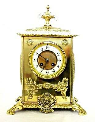 Quality Antique French Striking Mantel Clock, Solid Brass, Cleaned, Serviced 14""