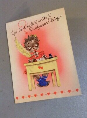 VINTAGE ANTIQUE OLD BLACK AMERICANA PAPER GREETING Valentines Day Heart Love