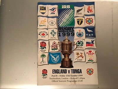 Rugby union programme - World Cup -  ENGLAND V TONGA 17/10/1999