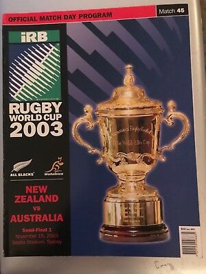 Rugby union programme - AUSTRALIA V NEW ZEALAND World Cup Semi Final 2003