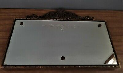Antique Glass Wall Mirror Etched Art Nouveau Hanging Carved Gesso Wood Beveled