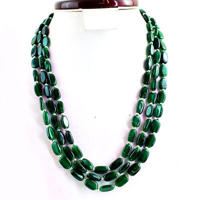 430.00 Cts Natural Untreated Green Jade 3 Strand Oval Beads Necklace NK 40E24