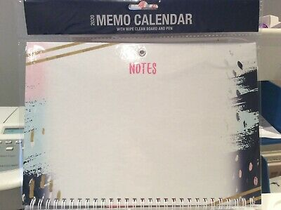 2020  Memo Calendar with Pen WIPE CLEAN BOARD ABSTRACT