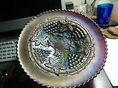 Northwood carnival glass grape and cable amethyst plate 8 7/8 inch plain back