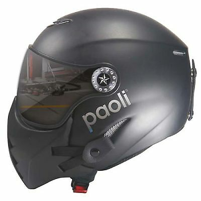 Paoli Pit Stop Helmet, Matte Black with Mirror Visor, Medium Size (58cm)