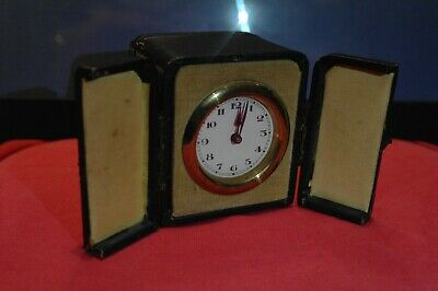 Antique Victorian French Travel Carriage Clock In Blue Leather Case Brass Detail