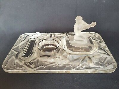 RARE Art Deco Czech Glass Nude Hoffmann Ingrid Glass Line Inkwel 1930s
