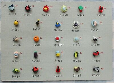 Salesperson's Display Card of 26 Realistic Snap Together Plastic Buttons